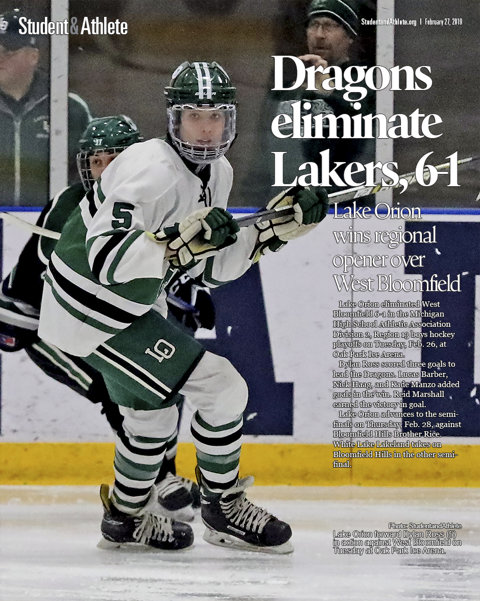 Boys hockey: Lake Orion beats West Bloomfield 6-1 in MHSAA regional playoff opener on Tuesday, Feb. 26, 2019
